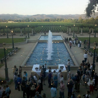 Napa Valley Writers' Conference attendees at a winery reception